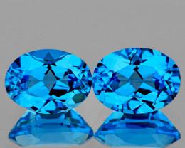 9x7 mm Oval 2 pcs 4.34cts Swiss Blue Topaz [VVS]