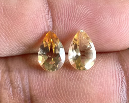 6x9mm Citrine Pair Natural Pear Faceted Gemstone VA1618