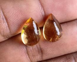 10 Cts Natural Citrine Untreated Cabochon 2pcs Gemstone VA1623