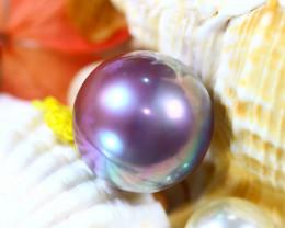 14.40MM 21.50Ct Natural Tahiti Peacock Aubergine Color Pearl DR640/A245