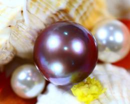 14.50MM 21.60Ct Natural Tahiti Peacock Aubergine Color Pearl DR642/A245