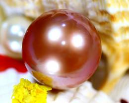 14.70MM 22.22Ct Natural Tahiti Aubergine Color Pearl ER621/A245