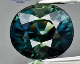 3.23ct VVS1 Greenish Blue Sapphire - Heated / 8.71 x 7.77mm / Certified