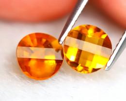 Madeira 1.39Ct VVS 2Pcs Pixalated Cut Natural Orange Citrine SE07