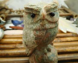 Llanite jasper carved owl decoration (D335)