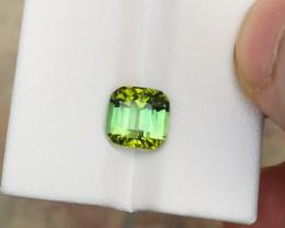 HGTL CERTIFIED 2.52 Ct Natural Yellowish Green Transparent Tourmaline Gemst