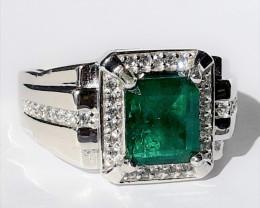 925 Silver – Ring – 9.06 g – Natural Emerald
