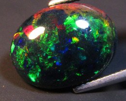4.90Cts Natural Earth Mined Color Play Black Opal Oval Cabochon Loose Gem