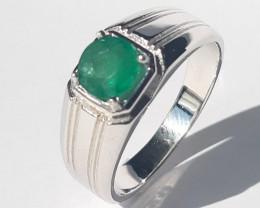 925 Silver – Men Ring – 9.72 g – Natural Emerald