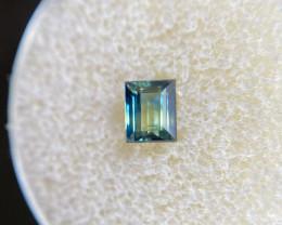 UNIQUE Australian 0.62ct UNTREATED Blue Green Bi Colour Sapphire Baguette C
