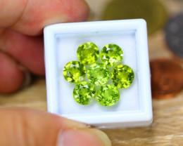 9.12ct Natural Green Peridot Round Cut Lot V8279