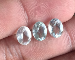 3 Pcs Aquamarine Natural Gemstone Faceted Unheated Untreated VA1642