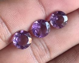 3 Pcs Amethyst Natural Gemstone Faceted Unheated Untreated VA1644