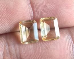 7x9mm Citrine Pair Natural Emerald Cut Faceted Gemstone VA1650
