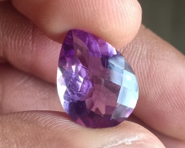 6 Ct Amethyst Checkered Faceted Natural Untreated Gemstone VA1660