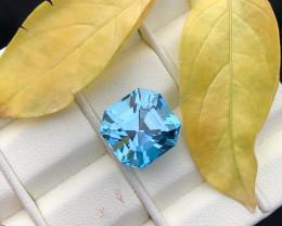 14.90 carats Swiss blue Asscher cut topaz gemstone