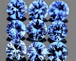 2.80 mm Round Machine Cut 9 pcs 1.00ct Sweet Ceylon Blue Sapphire [VVS]