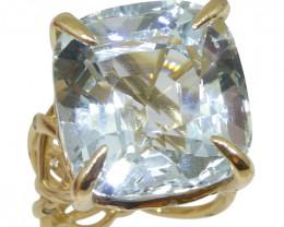 30.78ct Aquamarine and Diamond Vine Ring set in 14k Yellow Gold