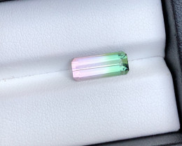 Very Special Color and Quality 2.45 Carat Natural Bi Color Tourmaline