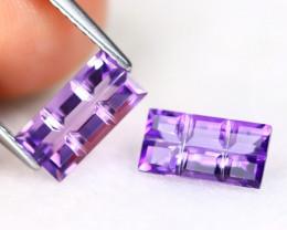 Amethyst 2.00Ct VVS Bar Cut Natural Bolivian Purple Amethyst SE928