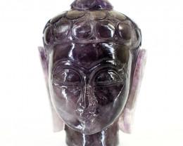 Genuine 1465.00 Cts Amethyst Carved Buddha Head
