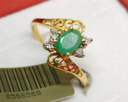 Exqusite $1275 Natural 0.67ct. Zambian Emerald Diamond  Ring