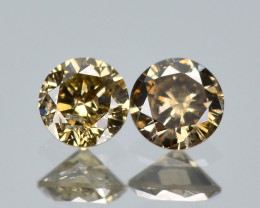 Untreated Diamond 0.14 Cts 2 Pcs Natural Fancy  Brown Loose Diamond