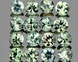 2.00 mm Round Machine Cut 20pcs 0.85cts Green Sapphire [VVS]