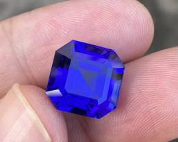Flawless 13.62 Carat DBlock Tanzanite Asscher Cut Gemstone