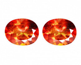 Paired 5.28 Cts Orange Red Color Azotic Topaz Natural Gemstone