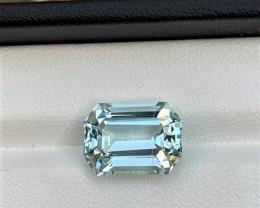 7.45 Cts Excellent Emerald Cut Natural color Eye clean Aquamarine 7.45Cts-M