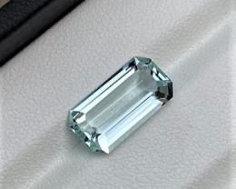 6.65Cts Excellent Emerald Cut Natural color Loop-clean Aquamarine 6.65CtsM3
