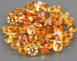 45Pcs/3.10Ct.Round Diamond Cut 2.2 mm.Ravishing Color Yellow Sapphire Songe