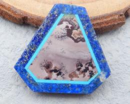 D2684 - 16.5cts Obsidian,Lapis Lazuli,Chohua Jasper Intarsia Cabochon