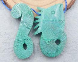 D2685 - 93.5cts New Design 2pcs Chrysocolla Craved Pendant Bead,Natural han