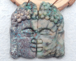 D2690 - 128cts High Quality Carved Buddha Earrings,Natural Chrysocolla Earr