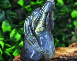 Genuine 784.00 Cts Golden & Blue Flash Labradorite Carved Dog Head