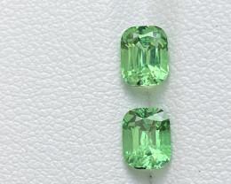 1.85ct bright green tsavorite garnet cushion pair