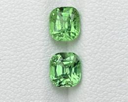 Bright Green Tsavorite Garnet Pair. 1.95ct natural cushion cut Gemstone.