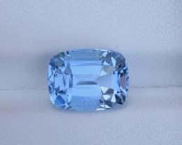 3.80Ct Santa Maria Color Step Cushion  Cut Natural Aquamarine