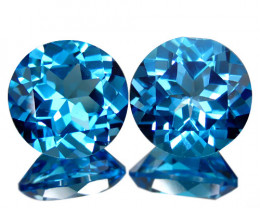 7.00Cts Sparkling Natural Swiss Blue Topaz Round 9mm Matching Pair