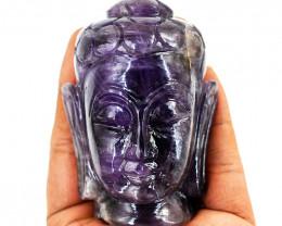 Genuine 1140.00 Cts Amethyst Carved Buddha Head