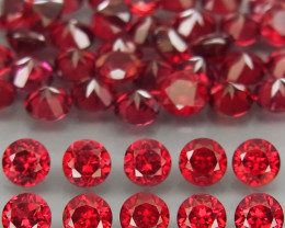 40Pcs/6.49Ct.Round 3 mm.Best Color! Cherry Red Rhodolite Garnet Africa