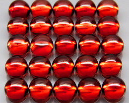 25Pcs/11.04Ct.Round Cabochon 4 mm.Outstanding Natural Red Mozambique Garnet