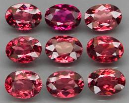 9Pcs/8.63Ct.7x5 mm.Ravishing Color Cherry Pink Rhodolite Garnet Africa