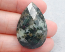 P0750 - 38Cts Hand Cut Faceted Moss Agate Teardrop Cabochon,Handmade Gemsto