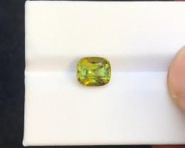 2.20 Ct Natural Yellowish Green Transparent Tourmaline Ring Size Gemstone