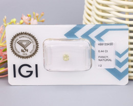 IGI Certified 0.44Ct Natural Fancy Light Greyish Yellow I2 Diamond B2112
