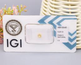 IGI Certified 0.25Ct Natural Fancy Light Brownish Yellow I3 Diamond B2115