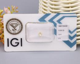 IGI Certified 0.30Ct Natural U-V Light Brownish Yellow I1 Diamond B2118